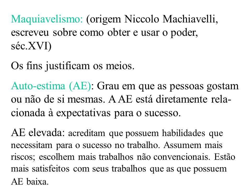 Maquiavelismo: (origem Niccolo Machiavelli, escreveu sobre como obter e usar o poder, séc.XVI) Os fins justificam os meios. Auto-estima (AE): Grau em