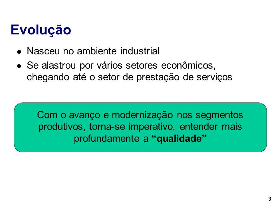 3 Evolução Nasceu no ambiente industrial Se alastrou por vários setores econômicos, chegando até o setor de prestação de serviços Com o avanço e moder