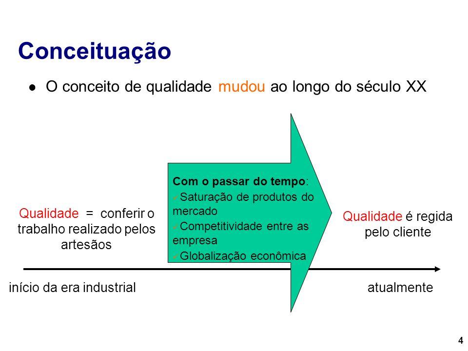 4 Conceituação O conceito de qualidade mudou ao longo do século XX início da era industrial Qualidade = conferir o trabalho realizado pelos artesãos C