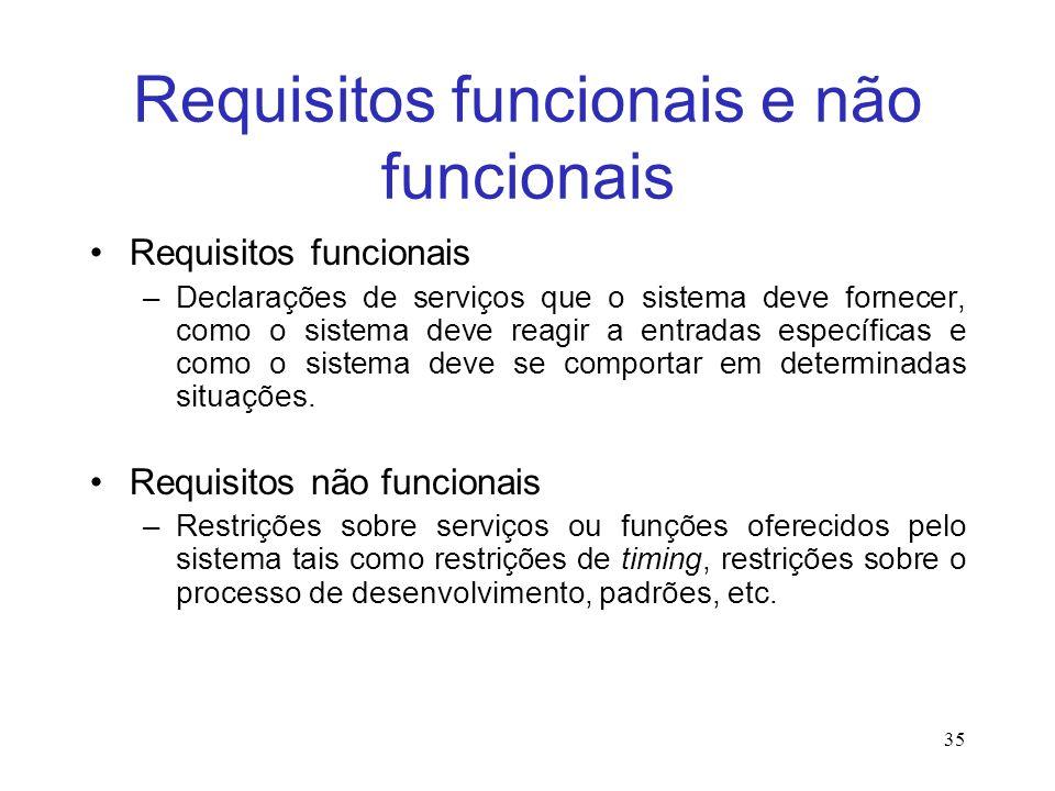 Requisitos funcionais e não funcionais Requisitos funcionais –Declarações de serviços que o sistema deve fornecer, como o sistema deve reagir a entradas específicas e como o sistema deve se comportar em determinadas situações.