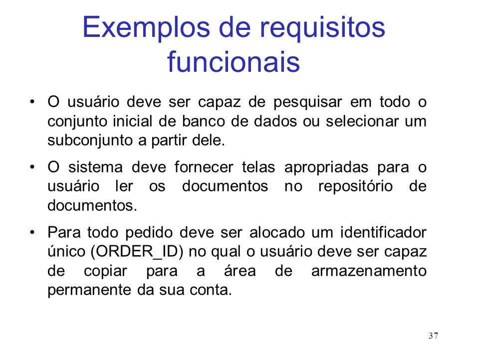 Exemplos de requisitos funcionais O usuário deve ser capaz de pesquisar em todo o conjunto inicial de banco de dados ou selecionar um subconjunto a partir dele.