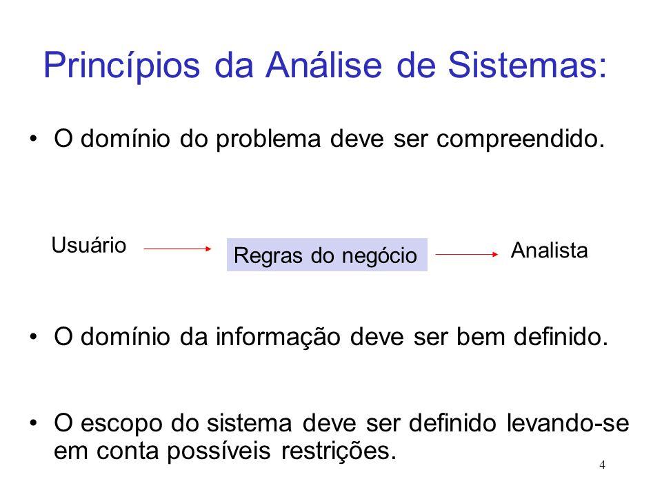 4 Princípios da Análise de Sistemas: O domínio do problema deve ser compreendido.