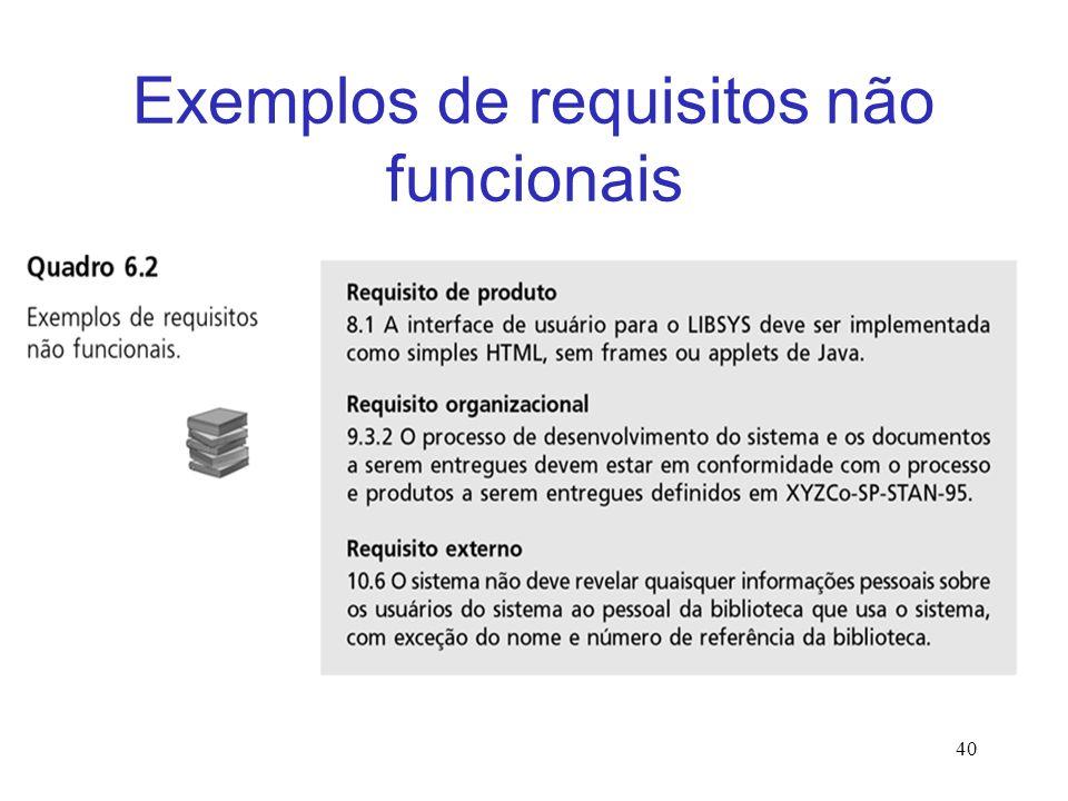 Exemplos de requisitos não funcionais 40