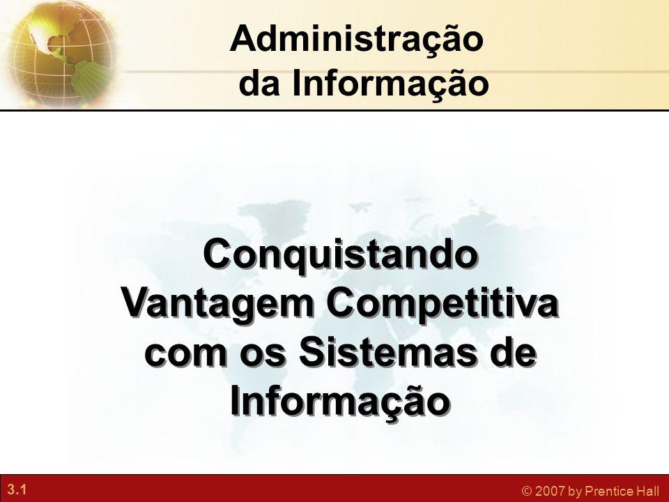 3.1 © 2007 by Prentice Hall Administração da Informação Conquistando Vantagem Competitiva com os Sistemas de Informação