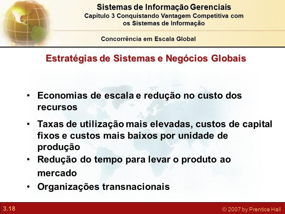 3.18 © 2007 by Prentice Hall Sistemas de Informação Gerenciais Capítulo 3 Conquistando Vantagem Competitiva com os Sistemas de Informação Estratégias