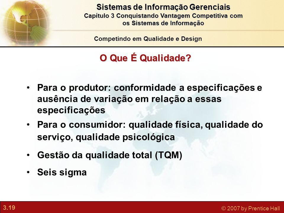 3.19 © 2007 by Prentice Hall Sistemas de Informação Gerenciais Capítulo 3 Conquistando Vantagem Competitiva com os Sistemas de Informação O Que É Qual
