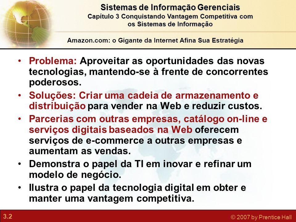 3.2 © 2007 by Prentice Hall Sistemas de Informação Gerenciais Capítulo 3 Conquistando Vantagem Competitiva com os Sistemas de Informação Problema: Apr