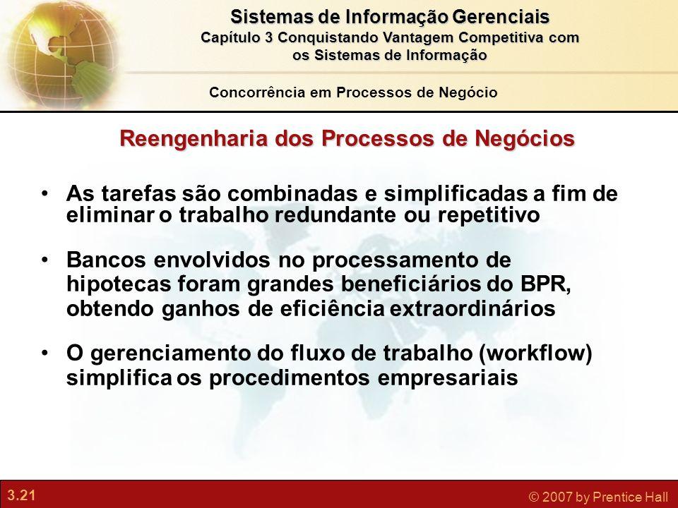 3.21 © 2007 by Prentice Hall Sistemas de Informação Gerenciais Capítulo 3 Conquistando Vantagem Competitiva com os Sistemas de Informação As tarefas s