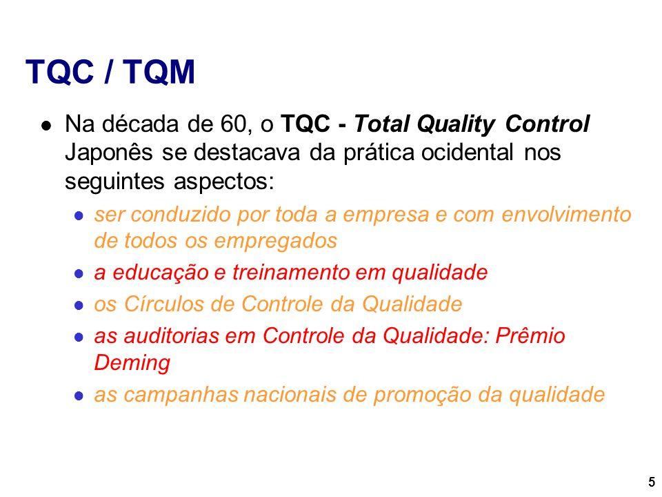 5 TQC / TQM Na década de 60, o TQC - Total Quality Control Japonês se destacava da prática ocidental nos seguintes aspectos: ser conduzido por toda a