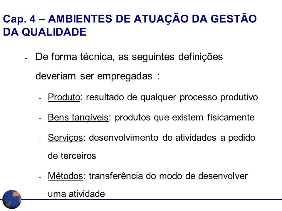Cap. 4 – AMBIENTES DE ATUAÇÃO DA GESTÃO DA QUALIDADE - De forma técnica, as seguintes definições deveriam ser empregadas : - Produto: resultado de qua