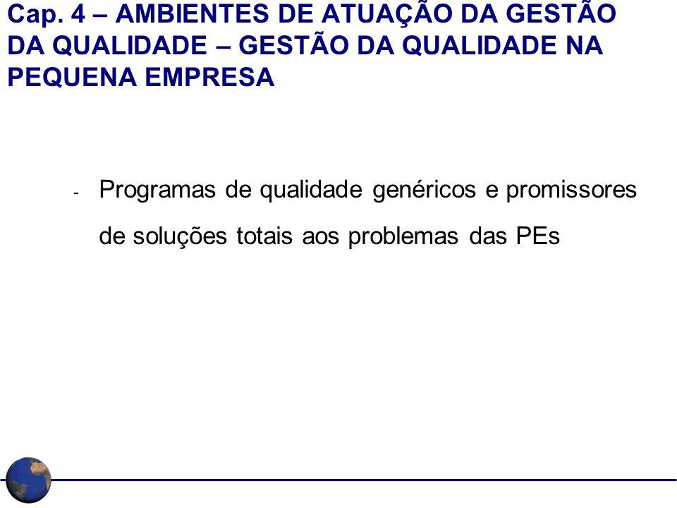 Cap. 4 – AMBIENTES DE ATUAÇÃO DA GESTÃO DA QUALIDADE – GESTÃO DA QUALIDADE NA PEQUENA EMPRESA - Programas de qualidade genéricos e promissores de solu