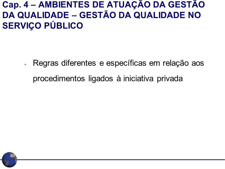 Cap. 4 – AMBIENTES DE ATUAÇÃO DA GESTÃO DA QUALIDADE – GESTÃO DA QUALIDADE NO SERVIÇO PÚBLICO - Regras diferentes e específicas em relação aos procedi