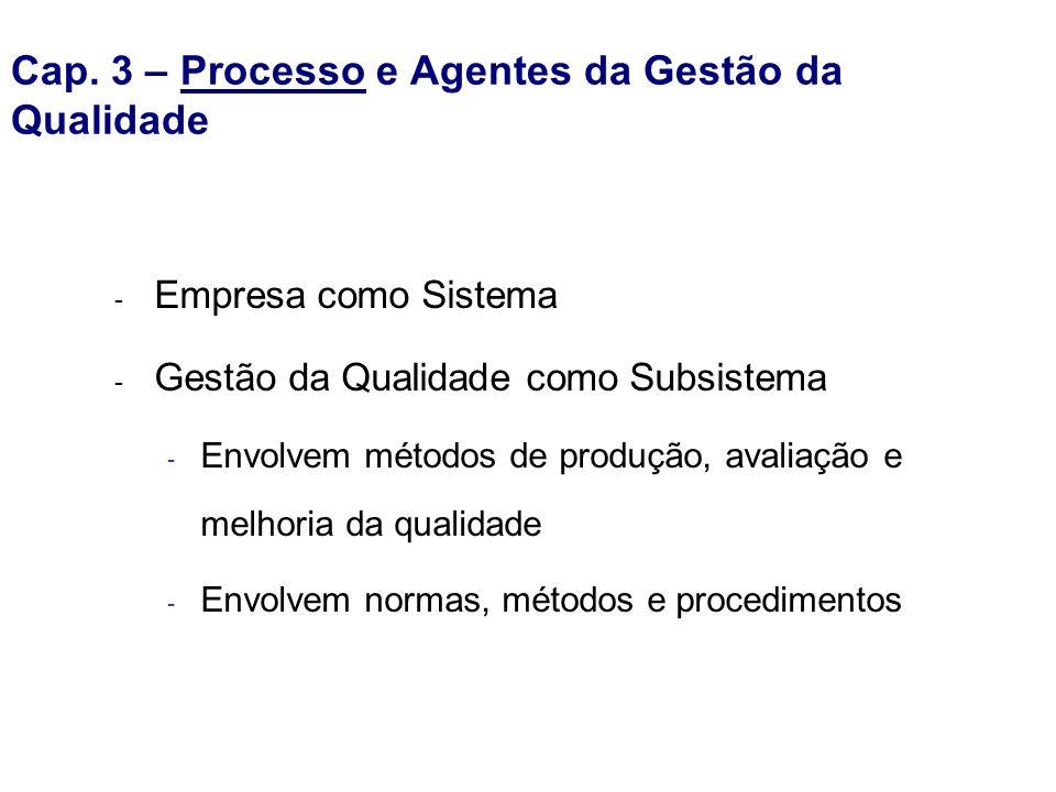 Cap. 3 – Processo e Agentes da Gestão da Qualidade - Empresa como Sistema - Gestão da Qualidade como Subsistema - Envolvem métodos de produção, avalia
