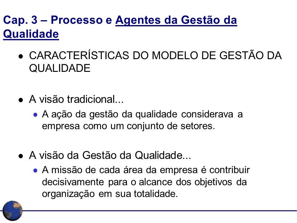 Cap. 3 – Processo e Agentes da Gestão da Qualidade CARACTERÍSTICAS DO MODELO DE GESTÃO DA QUALIDADE A visão tradicional... A ação da gestão da qualida
