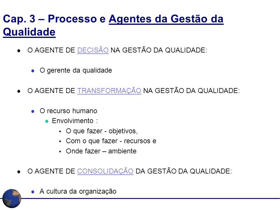 Cap. 3 – Processo e Agentes da Gestão da Qualidade O AGENTE DE DECISÃO NA GESTÃO DA QUALIDADE: O gerente da qualidade O AGENTE DE TRANSFORMAÇÃO NA GES