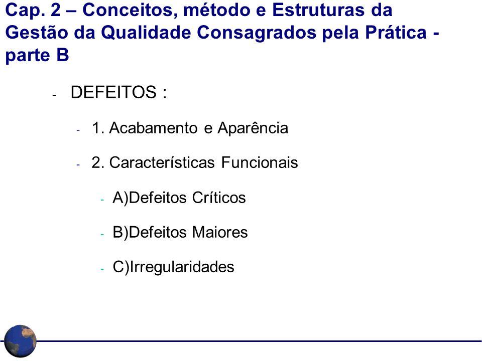 Cap. 2 – Conceitos, método e Estruturas da Gestão da Qualidade Consagrados pela Prática - parte B - DEFEITOS : - 1. Acabamento e Aparência - 2. Caract