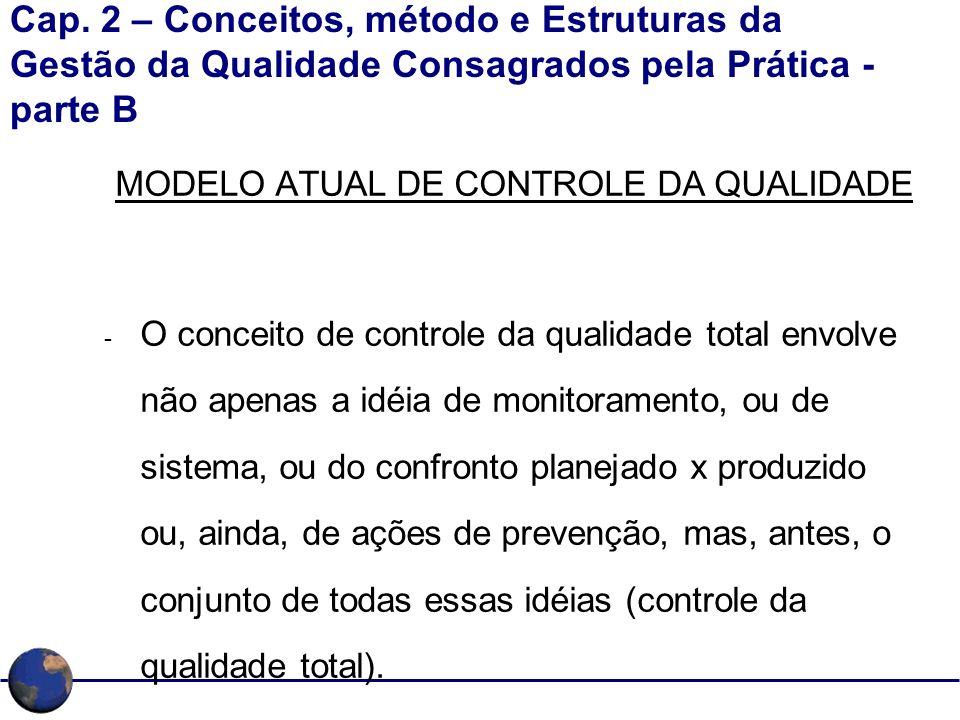 Cap. 2 – Conceitos, método e Estruturas da Gestão da Qualidade Consagrados pela Prática - parte B MODELO ATUAL DE CONTROLE DA QUALIDADE - O conceito d