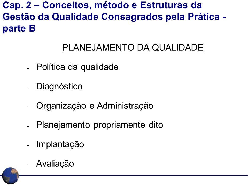 Cap. 2 – Conceitos, método e Estruturas da Gestão da Qualidade Consagrados pela Prática - parte B PLANEJAMENTO DA QUALIDADE - Política da qualidade -