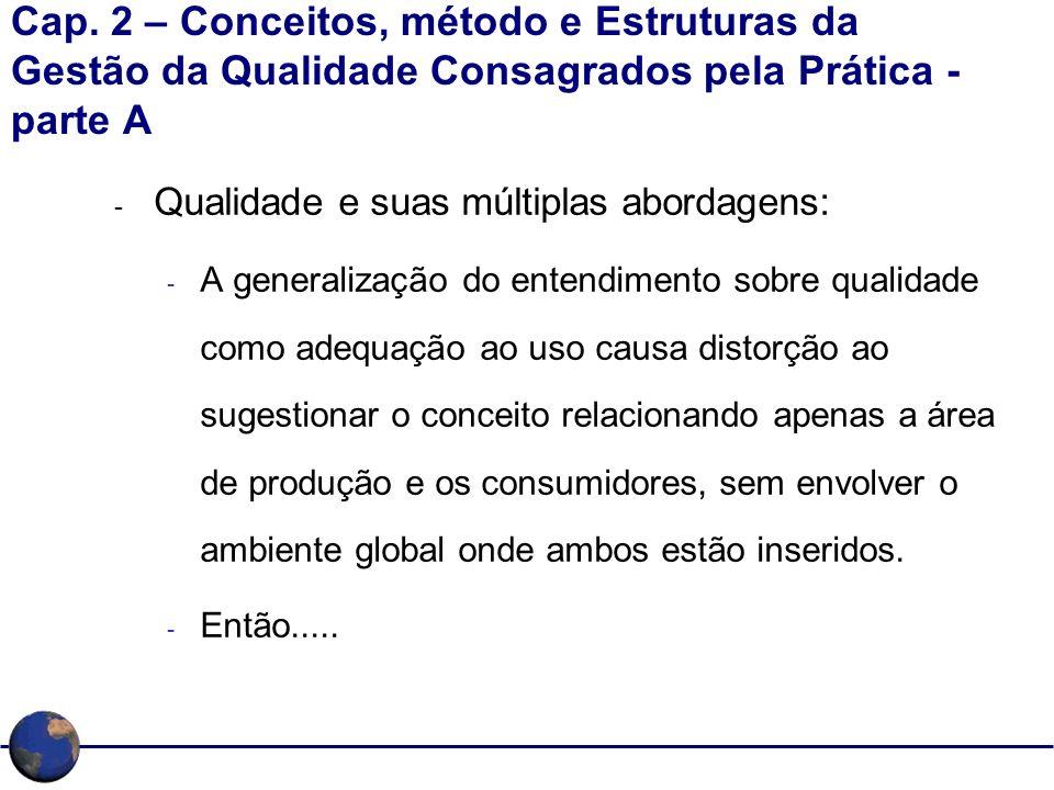 Cap. 2 – Conceitos, método e Estruturas da Gestão da Qualidade Consagrados pela Prática - parte A - Qualidade e suas múltiplas abordagens: - A general