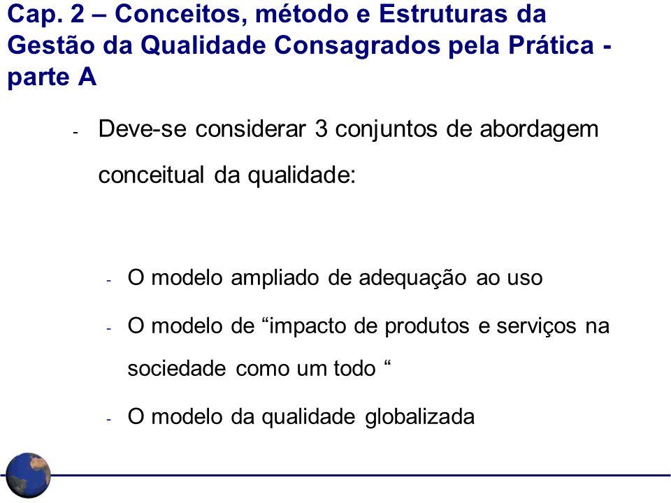 Cap. 2 – Conceitos, método e Estruturas da Gestão da Qualidade Consagrados pela Prática - parte A - Deve-se considerar 3 conjuntos de abordagem concei