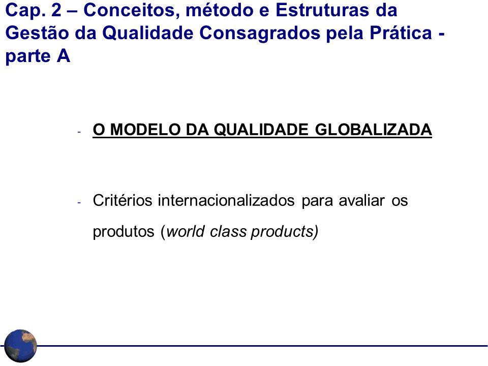 Cap. 2 – Conceitos, método e Estruturas da Gestão da Qualidade Consagrados pela Prática - parte A - O MODELO DA QUALIDADE GLOBALIZADA - Critérios inte