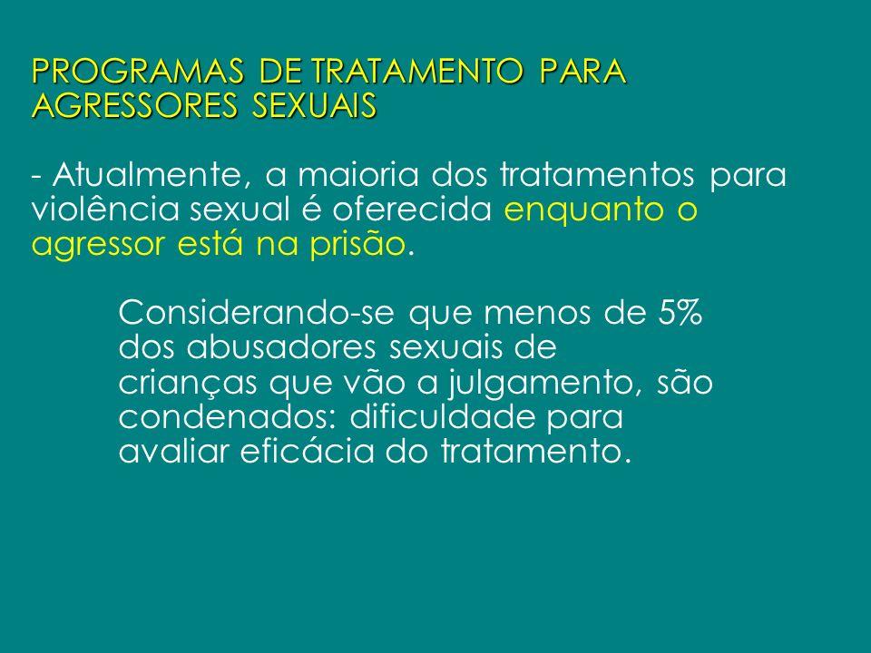 PROGRAMAS DE TRATAMENTO PARA AGRESSORES SEXUAIS - Atualmente, a maioria dos tratamentos para violência sexual é oferecida enquanto o agressor está na