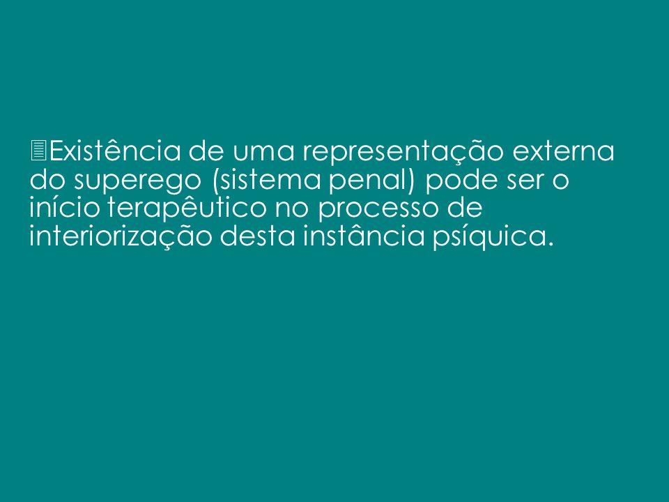 3Existência de uma representação externa do superego (sistema penal) pode ser o início terapêutico no processo de interiorização desta instância psíqu