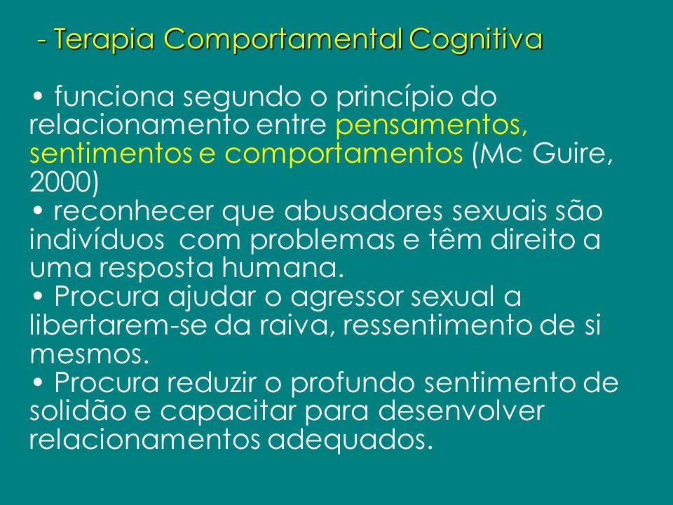 - Terapia Comportamental Cognitiva funciona segundo o princípio do relacionamento entre pensamentos, sentimentos e comportamentos (Mc Guire, 2000) rec