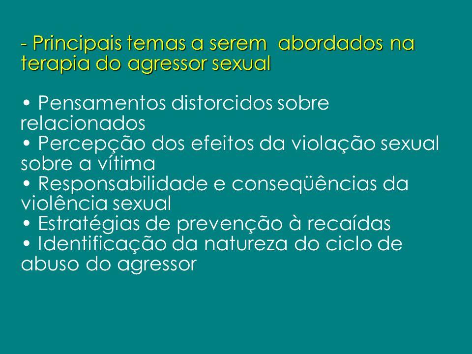 - Principais temas a serem abordados na terapia do agressor sexual Pensamentos distorcidos sobre relacionados Percepção dos efeitos da violação sexual
