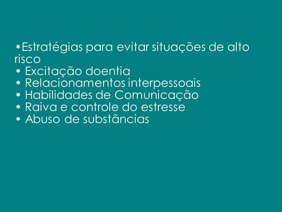 Estratégias para evitar situações de alto risco Excitação doentia Relacionamentos interpessoais Habilidades de Comunicação Raiva e controle do estress