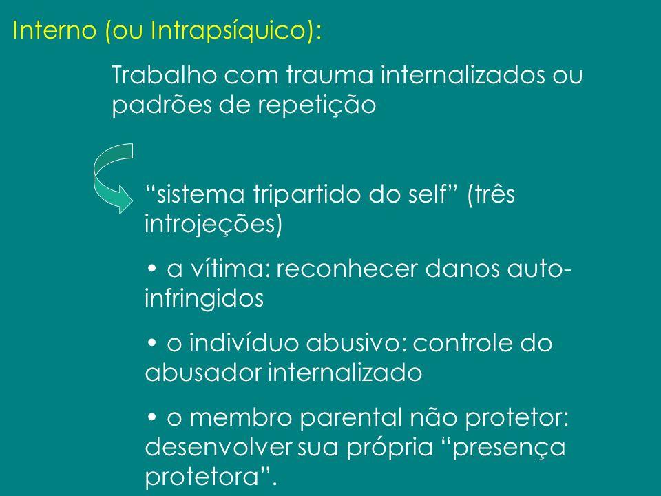 Interno (ou Intrapsíquico): Trabalho com trauma internalizados ou padrões de repetição sistema tripartido do self (três introjeções) a vítima: reconhe
