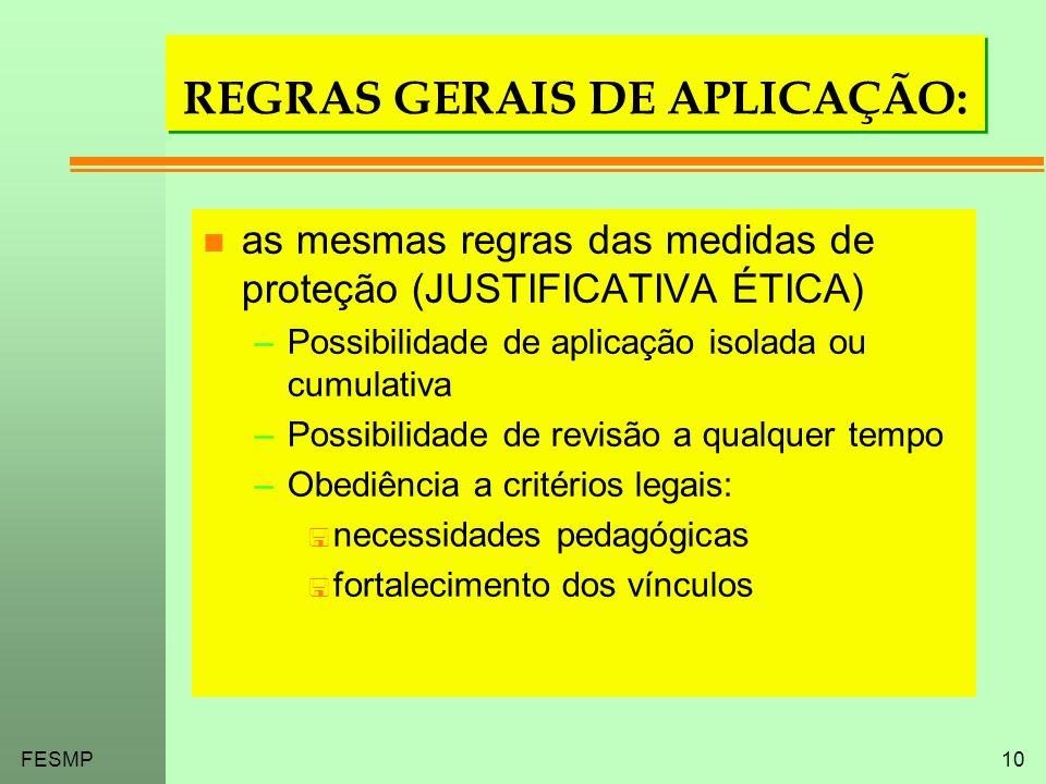 FESMP10 REGRAS GERAIS DE APLICAÇÃO: n as mesmas regras das medidas de proteção (JUSTIFICATIVA ÉTICA) –Possibilidade de aplicação isolada ou cumulativa
