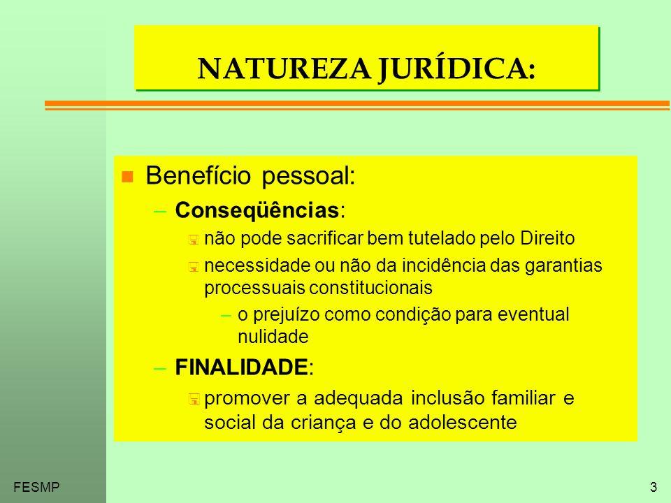 FESMP3 NATUREZA JURÍDICA: n Benefício pessoal: –Conseqüências: < não pode sacrificar bem tutelado pelo Direito < necessidade ou não da incidência das