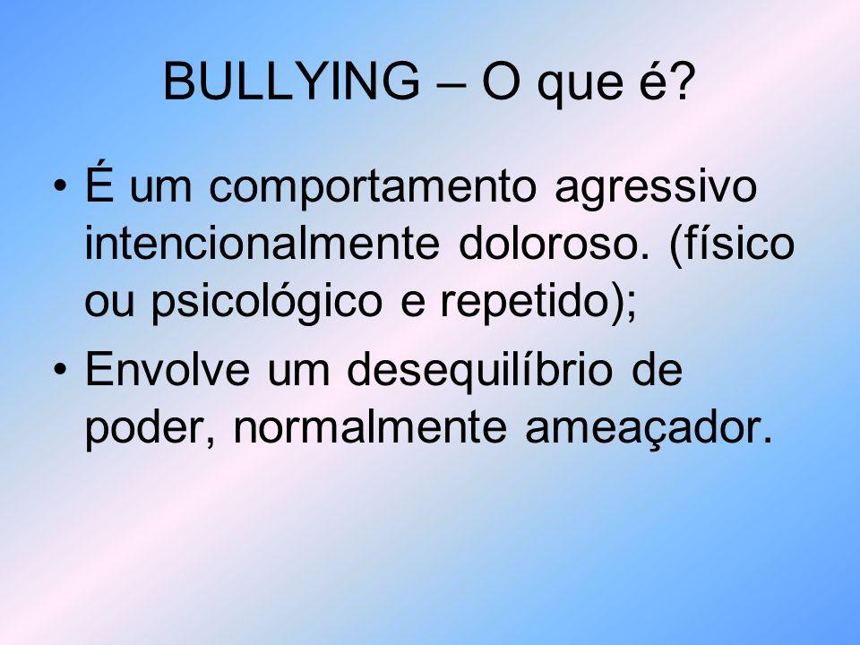 BULLYING - Consequências Priva a criança/adolescente de uma direito básico, que é de uma infância feliz; Pode criar uma série de problemas de saúde, como depressão, ansiedade, fobia, distúrbios alimentares e estresse pós traumático; Muitos alunos (as) falta à escola para fugir do bullying;