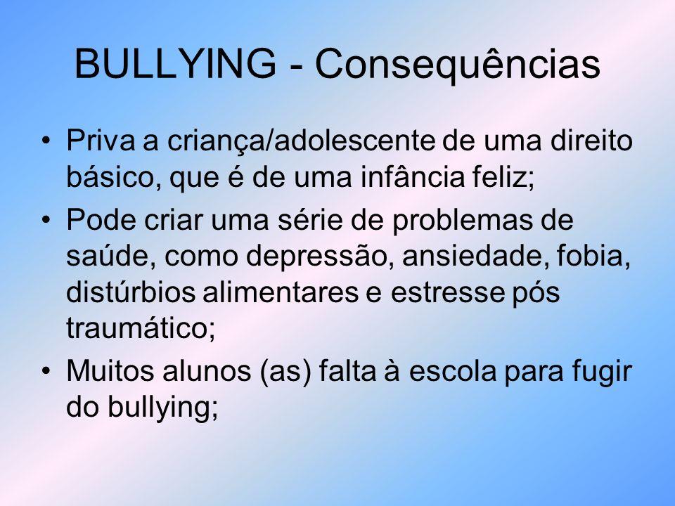 BULLYING - Consequências Aceitação aderindo a gangues ou mergulham no álcool, para fugir do problema; (alguns cometem suicídio); A maiores dos jovens que praticam violência, são vitimas de bullying (atiradores)