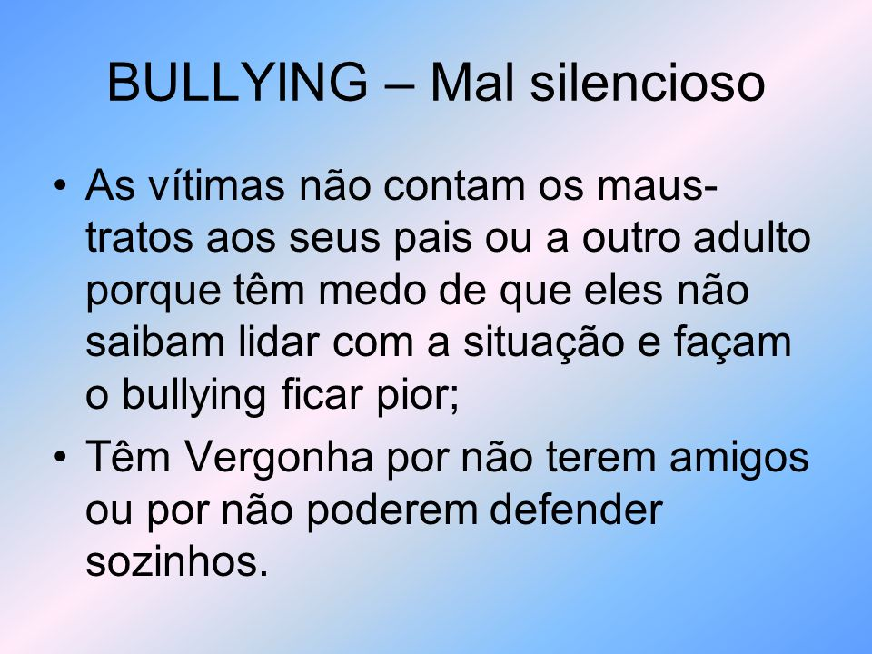 BULLYING – Como se defender.