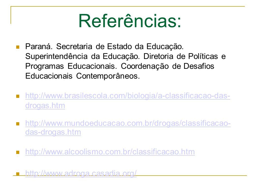 Referências: Paraná.Secretaria de Estado da Educação.