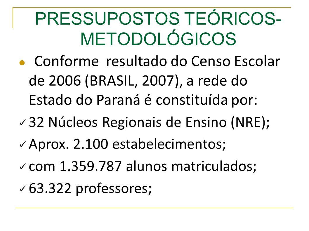 Conforme resultado do Censo Escolar de 2006 (BRASIL, 2007), a rede do Estado do Paraná é constituída por: 32 Núcleos Regionais de Ensino (NRE); Aprox.