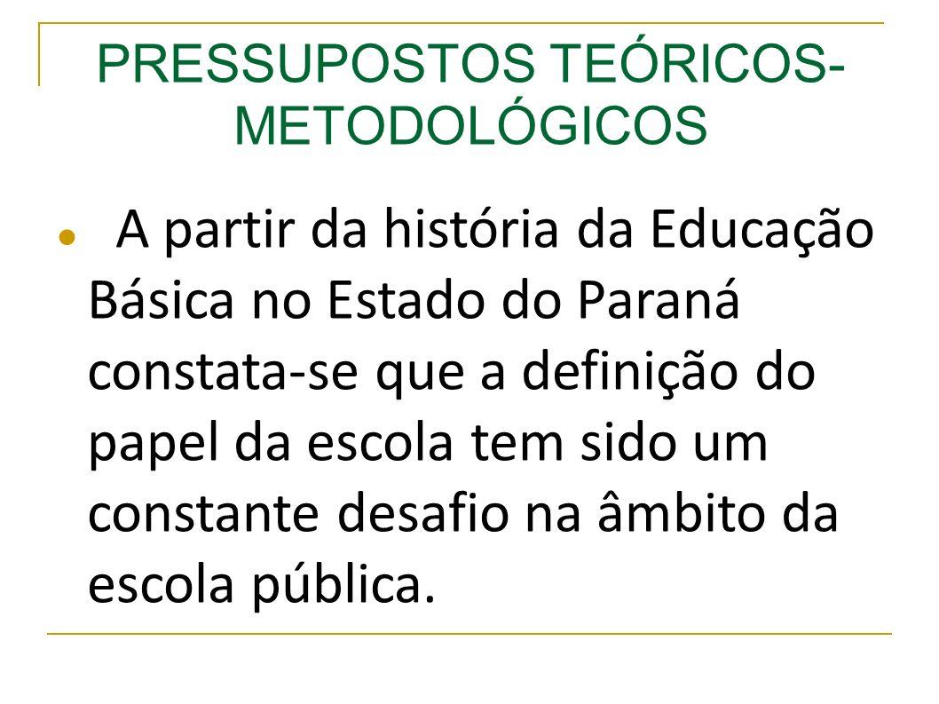 A partir da história da Educação Básica no Estado do Paraná constata-se que a definição do papel da escola tem sido um constante desafio na âmbito da escola pública.