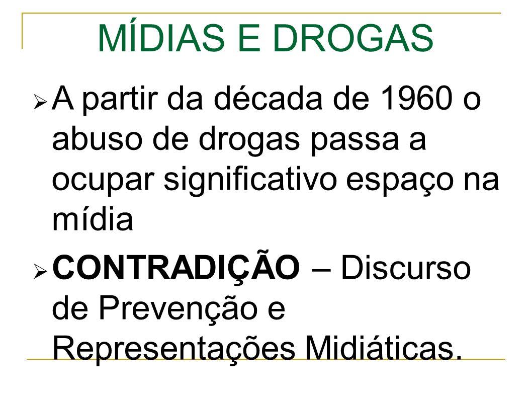 MÍDIAS E DROGAS A partir da década de 1960 o abuso de drogas passa a ocupar significativo espaço na mídia CONTRADIÇÃO – Discurso de Prevenção e Representações Midiáticas.