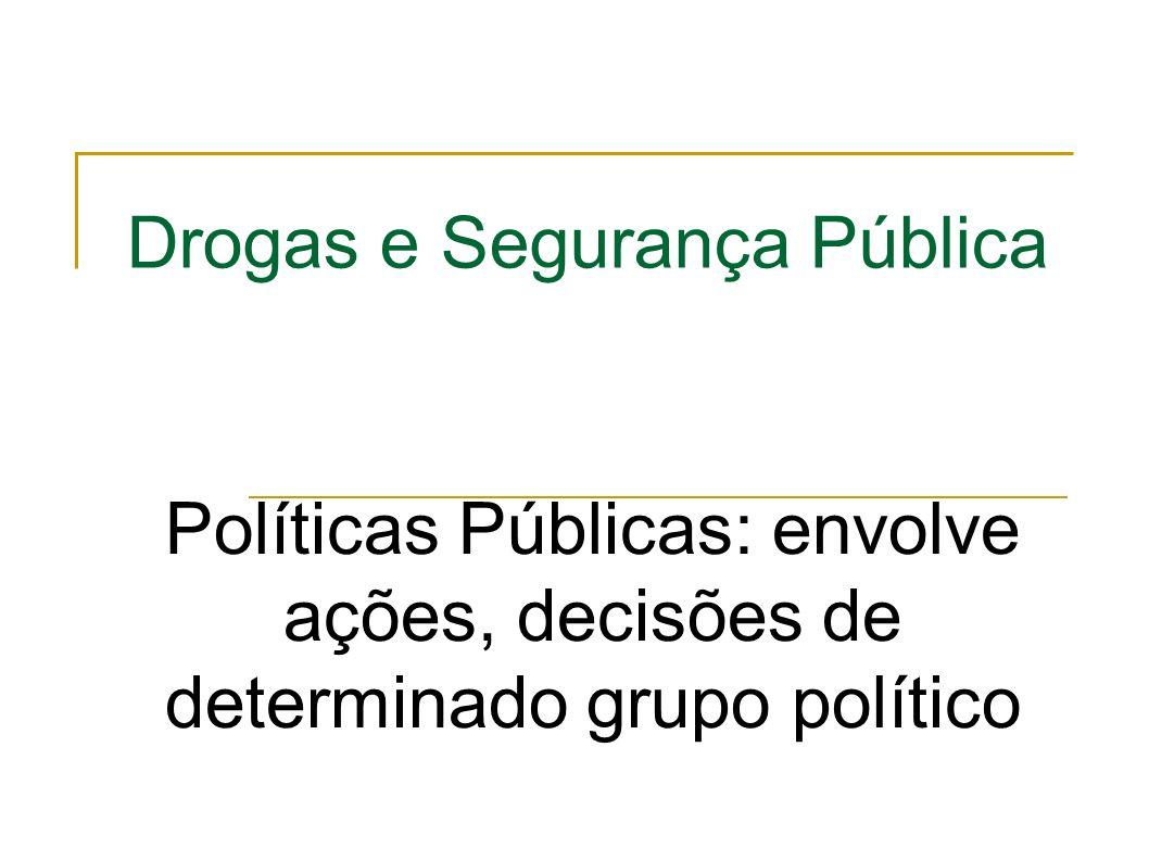 Drogas e Segurança Pública Políticas Públicas: envolve ações, decisões de determinado grupo político