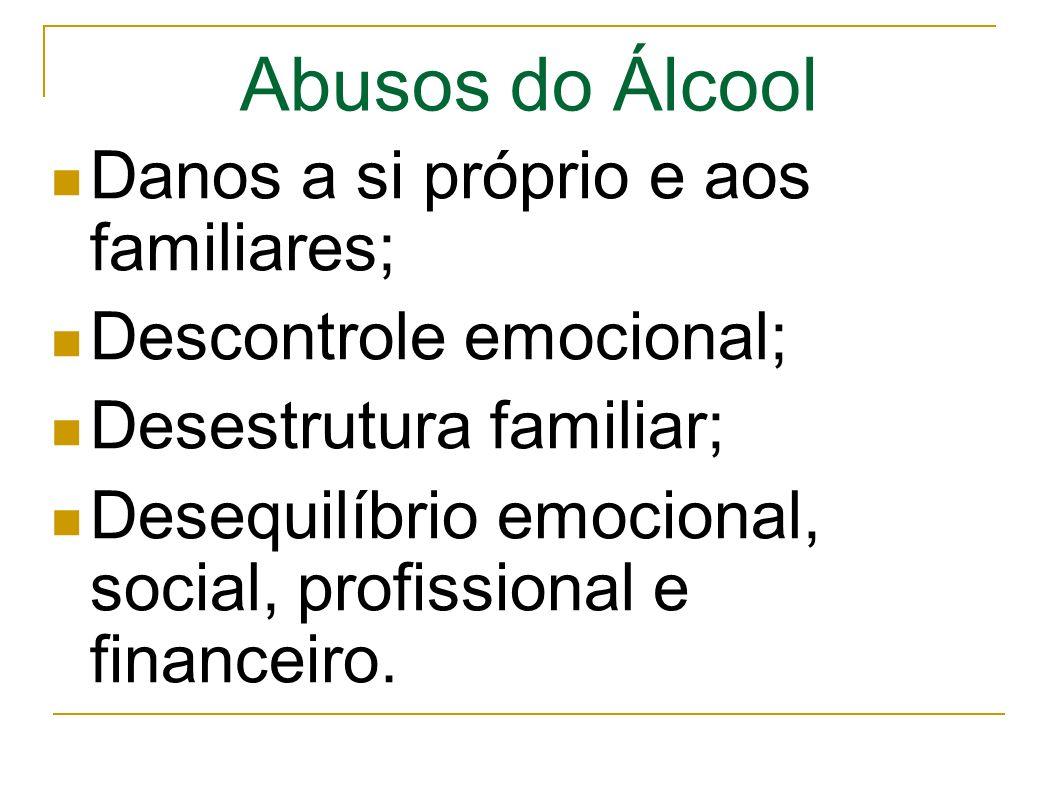 Abusos do Álcool Danos a si próprio e aos familiares; Descontrole emocional; Desestrutura familiar; Desequilíbrio emocional, social, profissional e financeiro.
