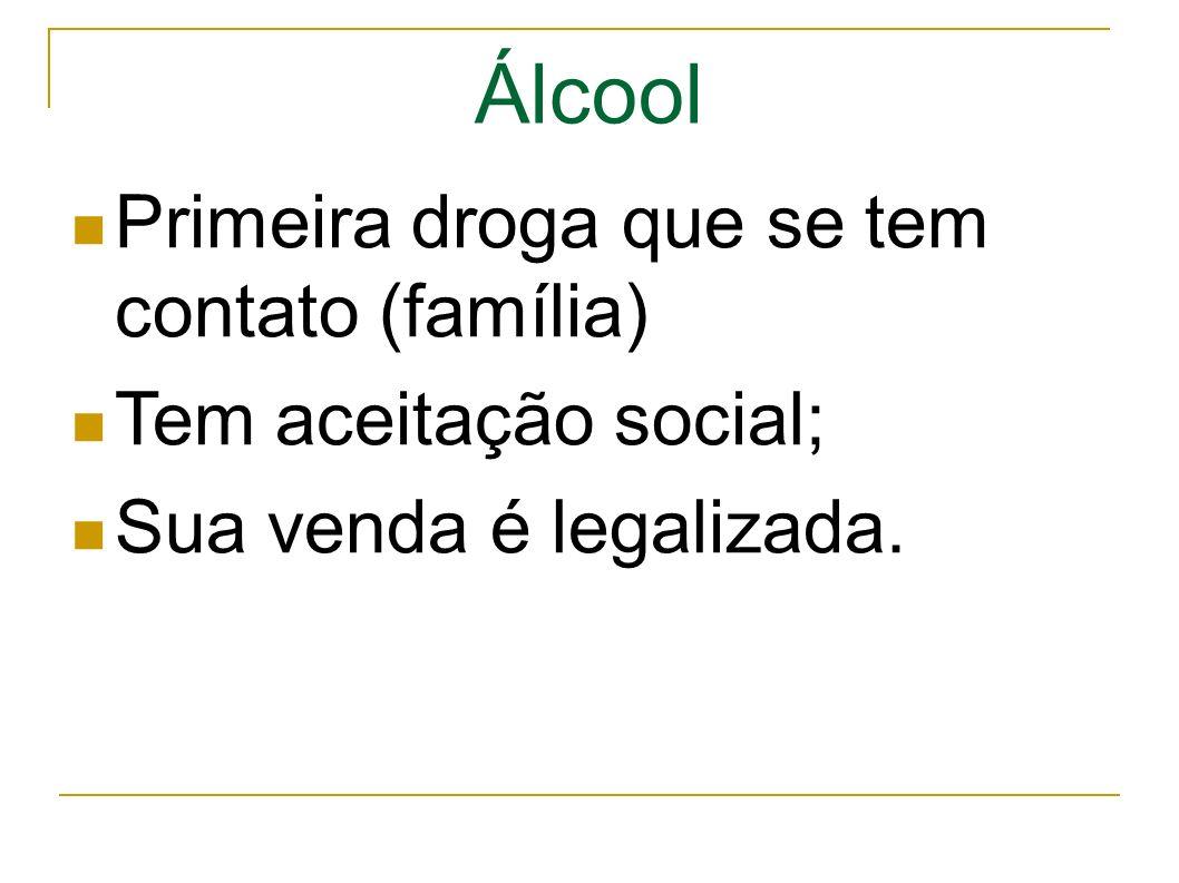 Álcool Primeira droga que se tem contato (família) Tem aceitação social; Sua venda é legalizada.