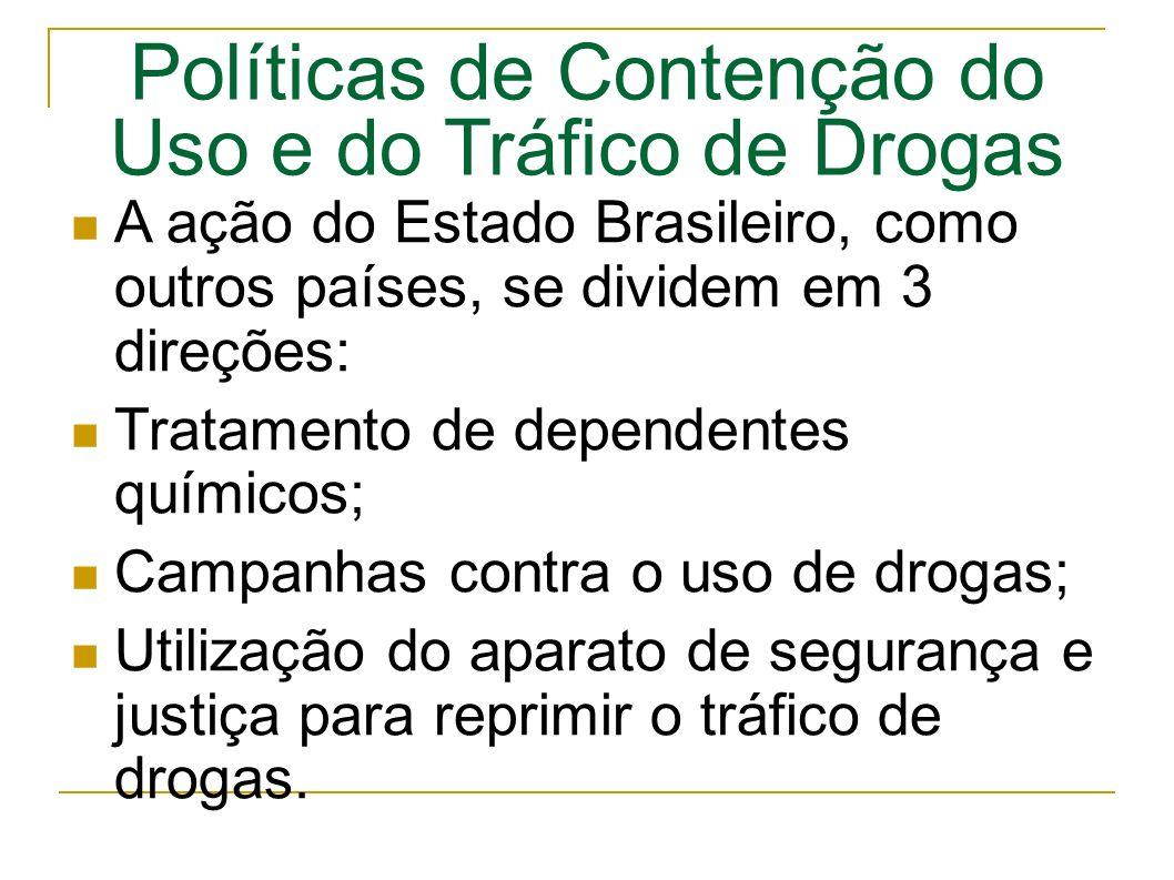 Políticas de Contenção do Uso e do Tráfico de Drogas A ação do Estado Brasileiro, como outros países, se dividem em 3 direções: Tratamento de dependentes químicos; Campanhas contra o uso de drogas; Utilização do aparato de segurança e justiça para reprimir o tráfico de drogas.