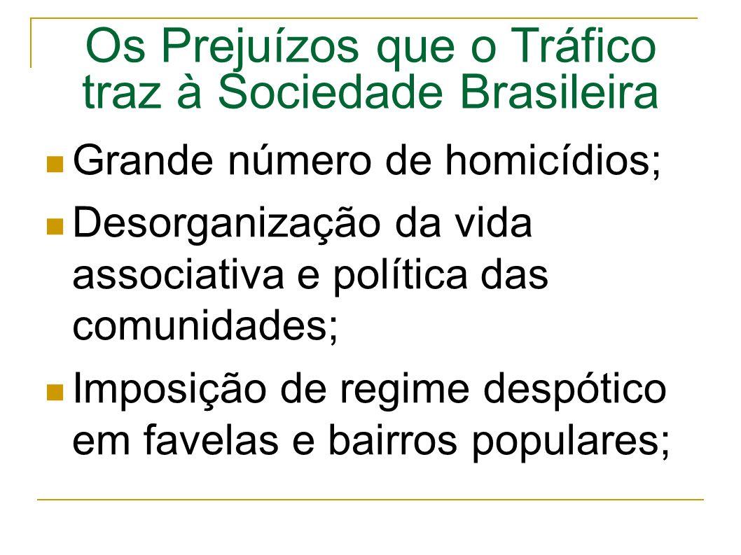 Os Prejuízos que o Tráfico traz à Sociedade Brasileira Grande número de homicídios; Desorganização da vida associativa e política das comunidades; Imposição de regime despótico em favelas e bairros populares;
