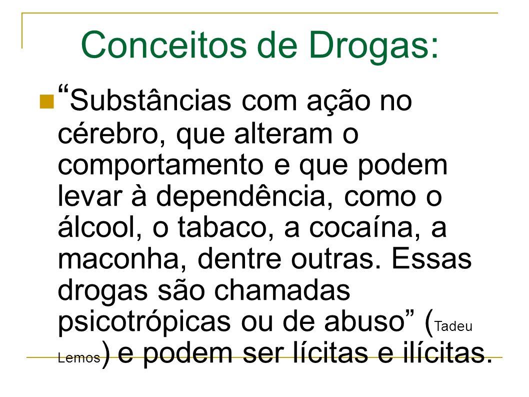 Substâncias com ação no cérebro, que alteram o comportamento e que podem levar à dependência, como o álcool, o tabaco, a cocaína, a maconha, dentre outras.