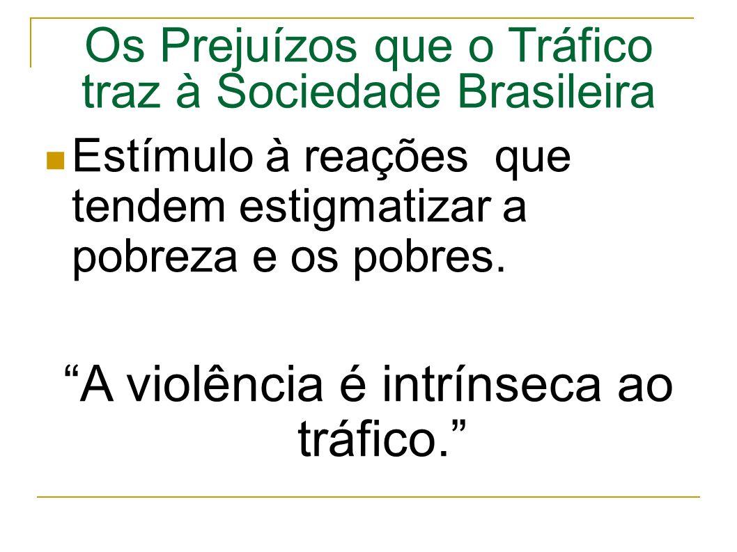 Os Prejuízos que o Tráfico traz à Sociedade Brasileira Estímulo à reações que tendem estigmatizar a pobreza e os pobres.