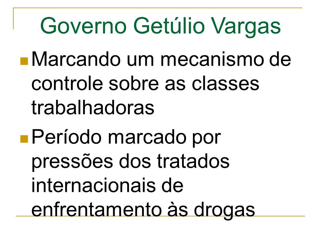 Governo Getúlio Vargas Marcando um mecanismo de controle sobre as classes trabalhadoras Período marcado por pressões dos tratados internacionais de enfrentamento às drogas