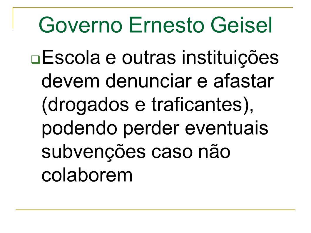 Governo Ernesto Geisel Escola e outras instituições devem denunciar e afastar (drogados e traficantes), podendo perder eventuais subvenções caso não colaborem