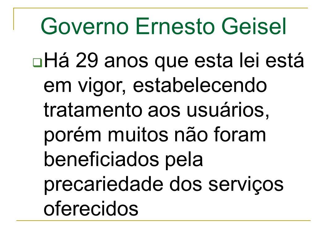 Governo Ernesto Geisel Há 29 anos que esta lei está em vigor, estabelecendo tratamento aos usuários, porém muitos não foram beneficiados pela precariedade dos serviços oferecidos